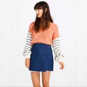 Madewell Raw Hem Denim Mini Wrap Skirt
